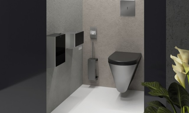 Stainless steel WC and accessories in office toilet