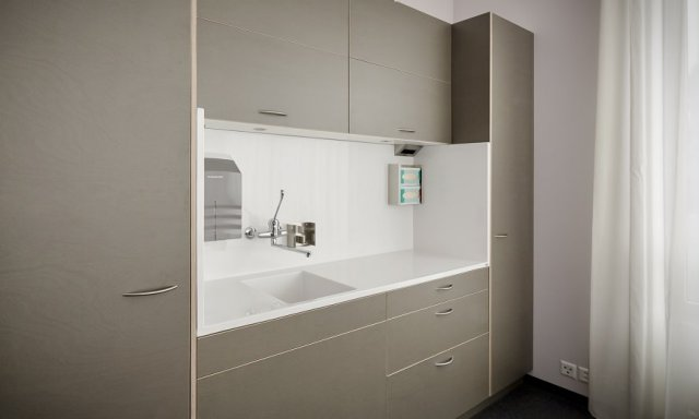 Bespoke solid surface washbasin for healthcare clinic
