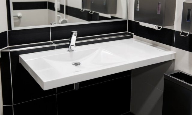 Single solid surface wash basin for office and workplace toilets