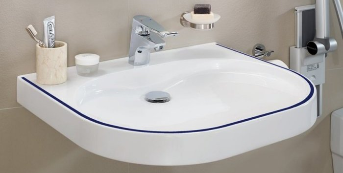 VariusCare accessible hand rinse basin ideal for care homes and healthcare environments