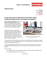 Franke Fast In Sink : discover the franke fast in kitchen sink our new fast in sinks let ...