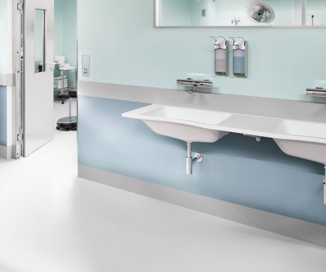 Miranit composite hospital washbasins